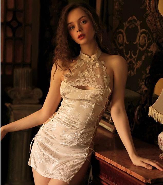セクシーコスプレ チャイナドレス とってもSexy 白チャイナ 美しい衣装_画像1