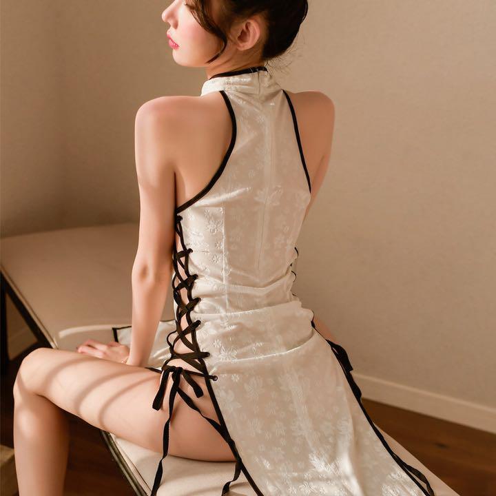 セクシーコスプレ sexyチャイナドレス ホワイト 花柄模様 魅力的なドレス衣装_画像8