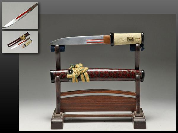 【静岡】294W 日本刀 あいくち 短刀 拵え付 刀袋付 刃渡り15.9㎝ ia