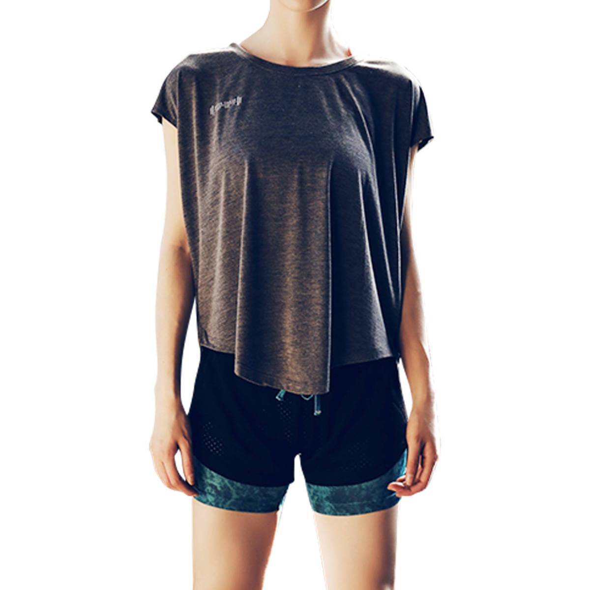 ヨガウェア レディース トップス 半袖 Tシャツ スポーツウェア 伸縮 ストレッチ 速乾 吸汗 ヨガ ホットヨガ グレー Mサイズ