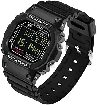 ブラック-男性 スタンダード腕時計 スポーツウォッチ メンズ レディース 30M防水 夜光 日付曜日表示 長さ調整可 多機能 カ_画像1