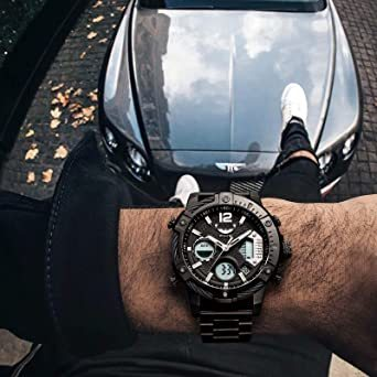 ブラック FEICE スポーツ 腕時計 メンズ ペアウォッチ 多機能 クォーツ LEDデジタル 時計 アナログ表示時計 防水 男_画像3
