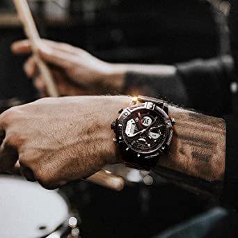 ブラック FEICE スポーツ 腕時計 メンズ ペアウォッチ 多機能 クォーツ LEDデジタル 時計 アナログ表示時計 防水 男_画像4