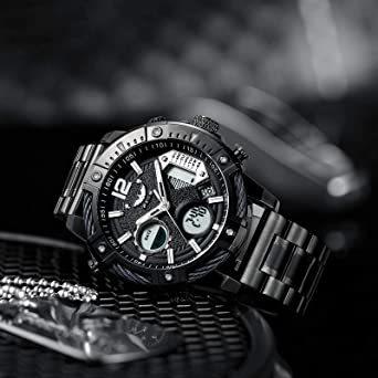 ブラック FEICE スポーツ 腕時計 メンズ ペアウォッチ 多機能 クォーツ LEDデジタル 時計 アナログ表示時計 防水 男_画像6