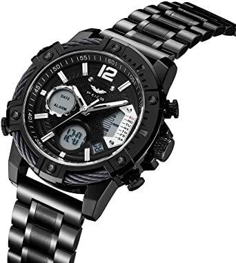 ブラック FEICE スポーツ 腕時計 メンズ ペアウォッチ 多機能 クォーツ LEDデジタル 時計 アナログ表示時計 防水 男_画像2