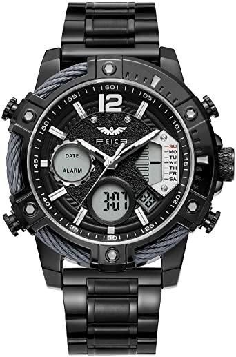 ブラック FEICE スポーツ 腕時計 メンズ ペアウォッチ 多機能 クォーツ LEDデジタル 時計 アナログ表示時計 防水 男_画像1