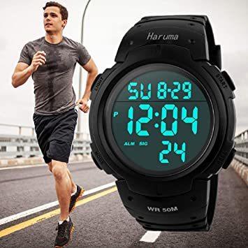 Haruma 腕時計 メンズ デジタル腕時計 人気 スポーツ 50メートル防水 おしゃれ 多機能 LED表示 大画面 アウトドア_画像1