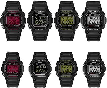 ブラック-男性 スタンダード腕時計 スポーツウォッチ メンズ レディース 30M防水 夜光 日付曜日表示 長さ調整可 多機能 カ_画像2