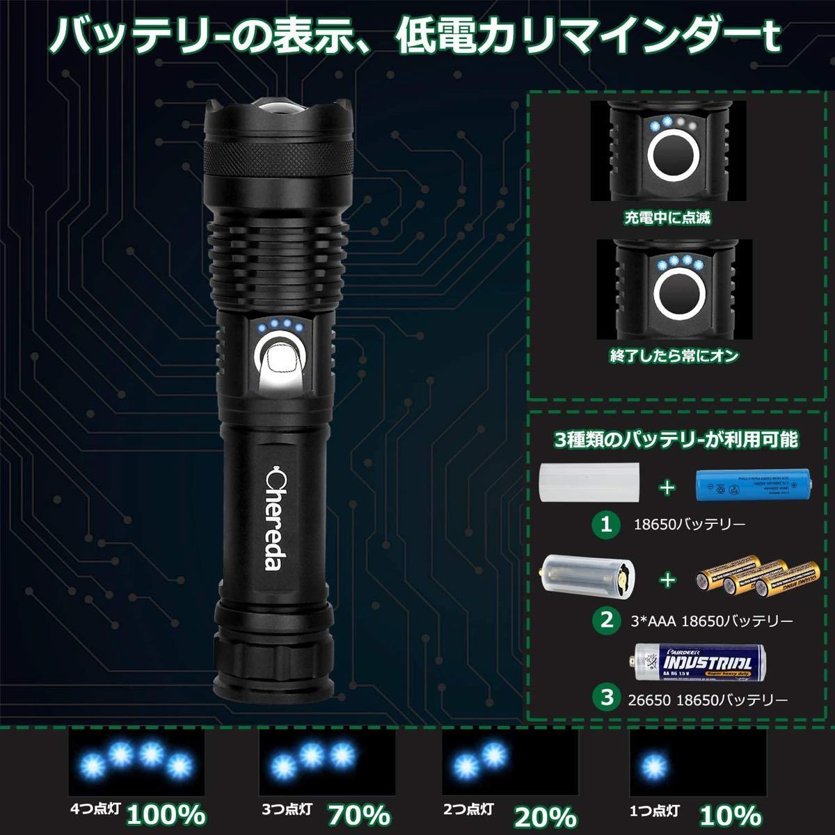 懐中電灯 充電式 LED ライト usb充電式 超高輝度 ハンディライト