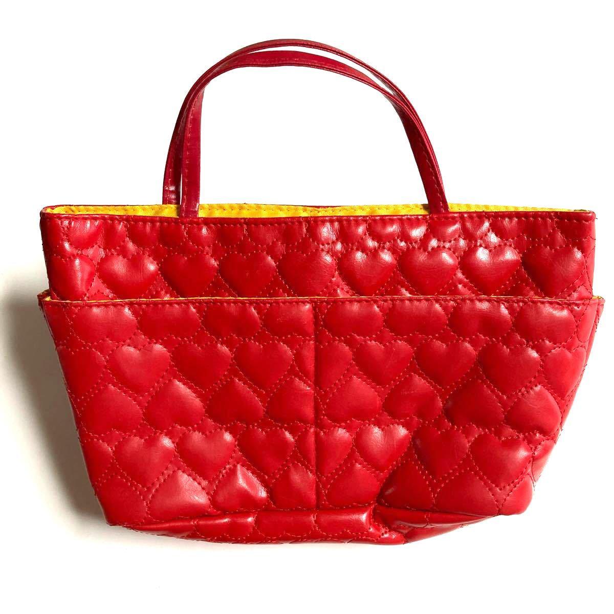 ★ミニバッグ ミニトートバッグ バッグインバッグ ポーチ 赤 ハートステッチ イエロー 磁石ボタン ポケット外4+内5 合皮素材