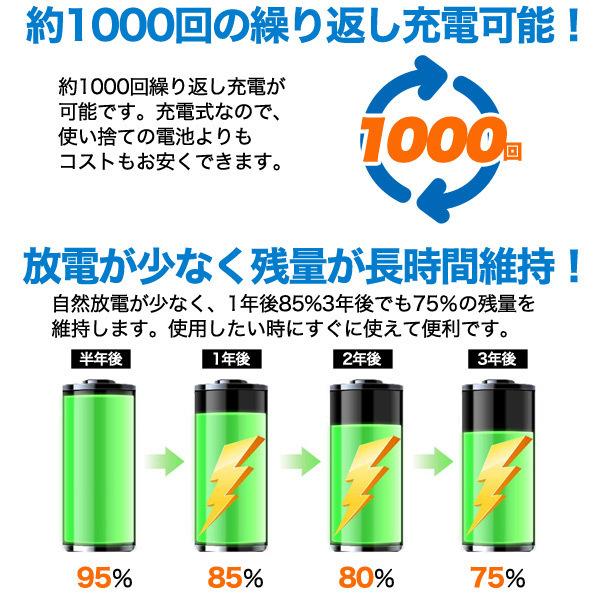 【単3充電池】 大容量2000mAh 単3形 ニッケル水素 充電池■ 充電式 単三型 バッテリー ■ 旅行 長期出張 防災の備えなど_画像2