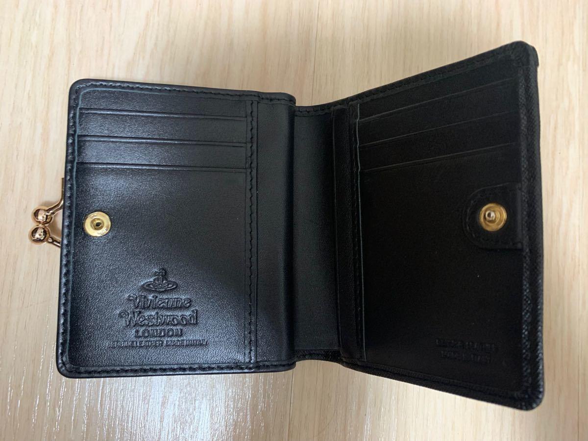Vivienne Westwood がま口 ヴィヴィアンウェストウッド 財布 二つ折り ヴィヴィアンウエストウッド 黒 金