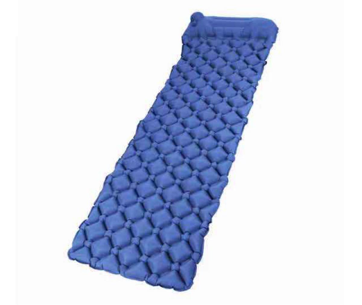 エアーマット アウトドア キャンプ ハンドポンプ付き 軽量 足踏式 青