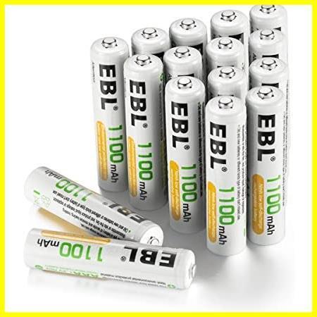 EBL 単4形充電池 充電式ニッケル水素電池 高容量1100mAh 16本入り 約1200回使用可能 ケース4個付き 単四充電池_画像1