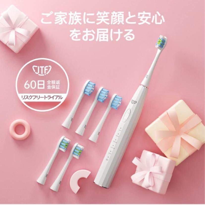 電動歯ブラシ 歯垢除去 ホワイトニング 歯周病予防 音波歯ブラシ 替えブラシ5本 歯ブラシセットUSB充電式 口内ケア