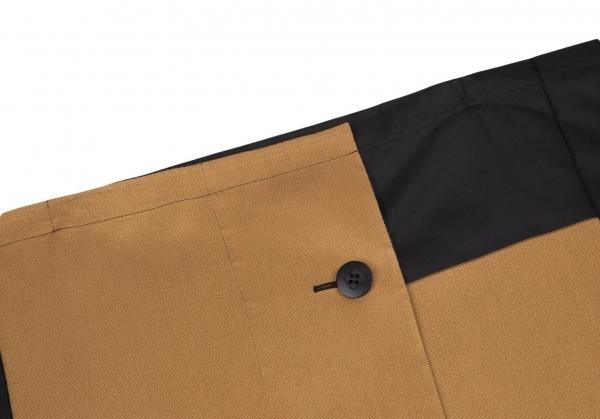 イッセイミヤケISSEY MIYAKE 132 5. ジャガードパネル切替スクエアシルエットジャケット 黒ベージュグレーM位 【レディース】_画像3