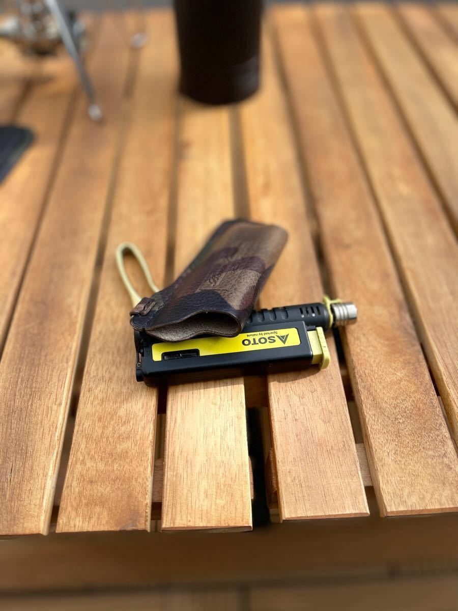 限定カモ柄sotoスライドガストーチ本革カバー真鍮フックtype