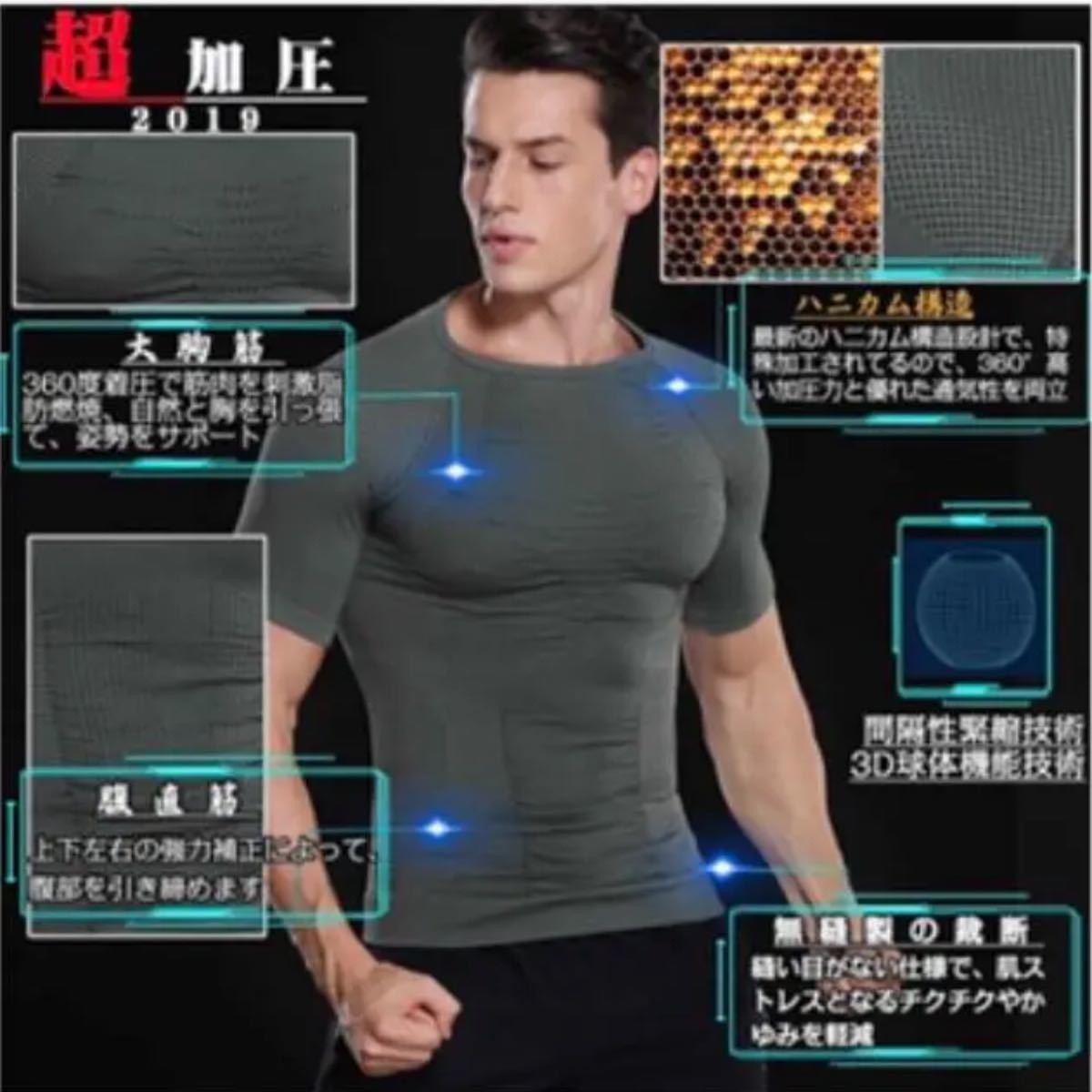 加圧インナー シャツ メンズ コンプレッションウェア 半袖 Tシャツ スポーツシャツ ダイエット