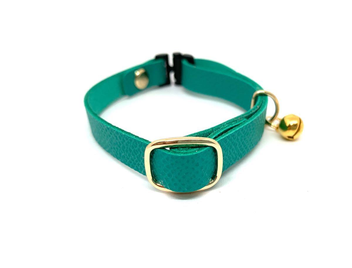 猫首輪 ターコイズグリーン フレンチレザー