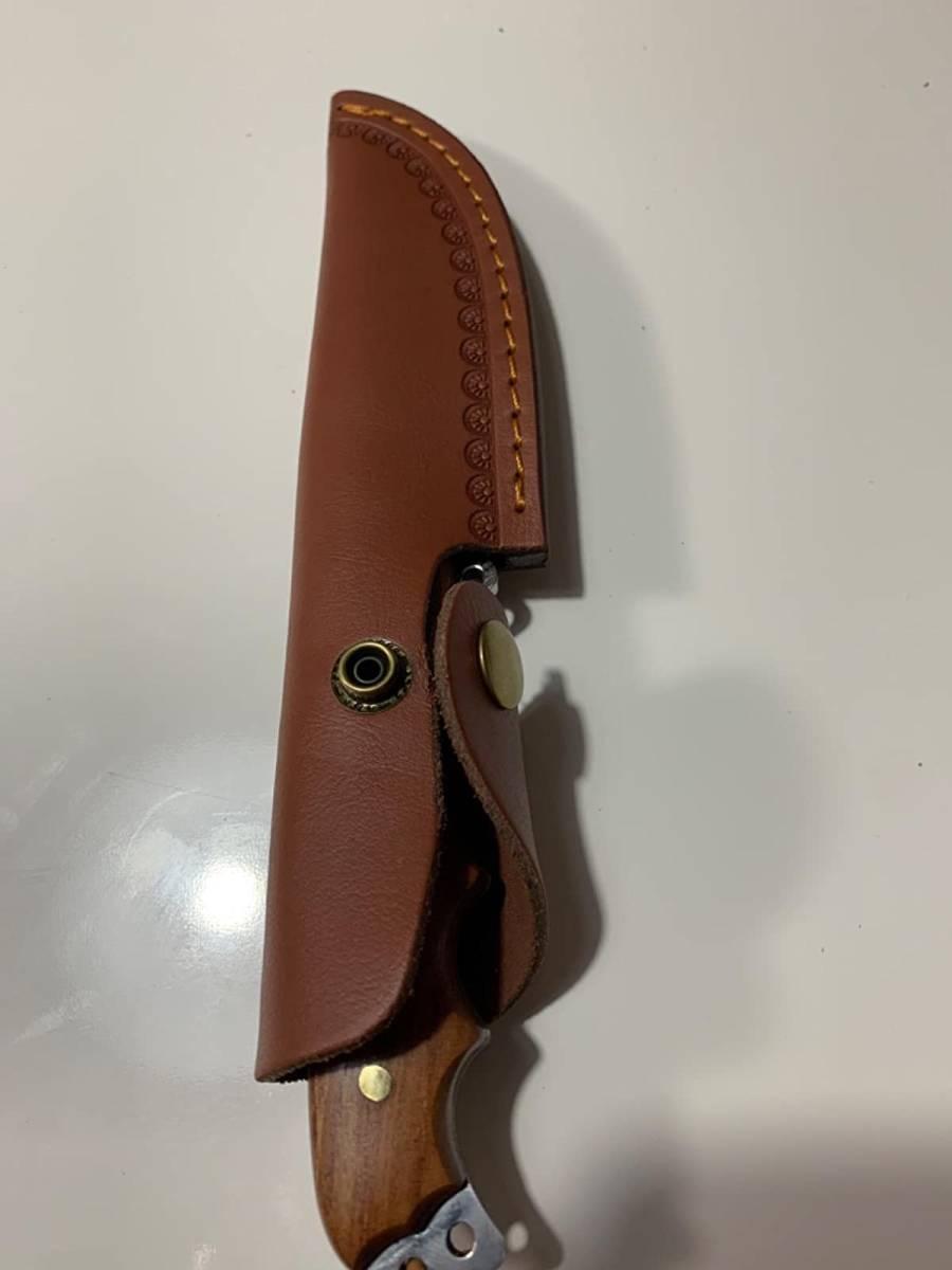 模様 ブレード シースナイフ 木製 ハンドル レザー シース ステンレス鋼 ナイフ 錆びにくい アウトドア キャンプ 釣り 料理 サバイバル