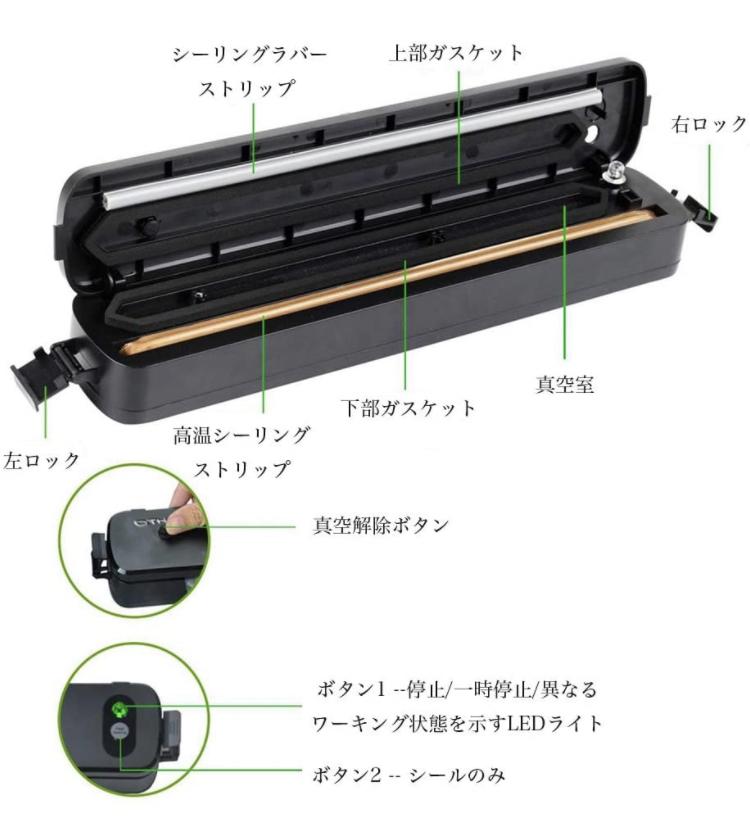 【ラスト1台】真空パック器 自動 小型 ポータブル型家庭用真空密封システム 食品保存 入門セット LED指示ランプ ダブルコンデンサ_画像5