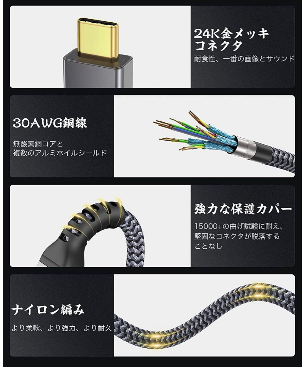 USB 4 ケーブル 2m 8K 100W急速充電 サンダーボルト 4ケーブル対応 40Gbps USB Type C cable