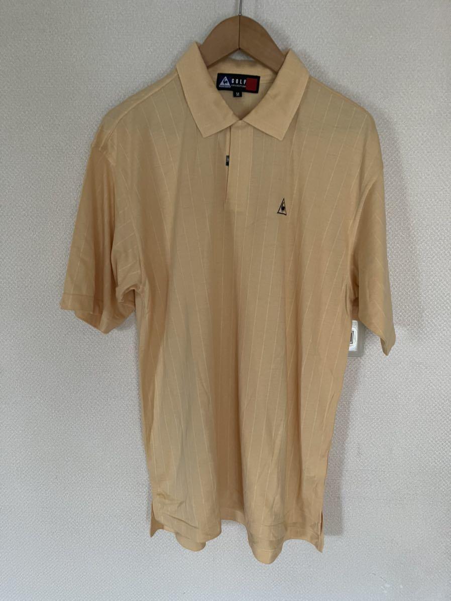 美品 le coq sportif GOLF ルコックゴルフ 吸汗速乾 半袖ポロシャツ 黄色×黒 メンズ サイズM☆S8☆49☆_画像1
