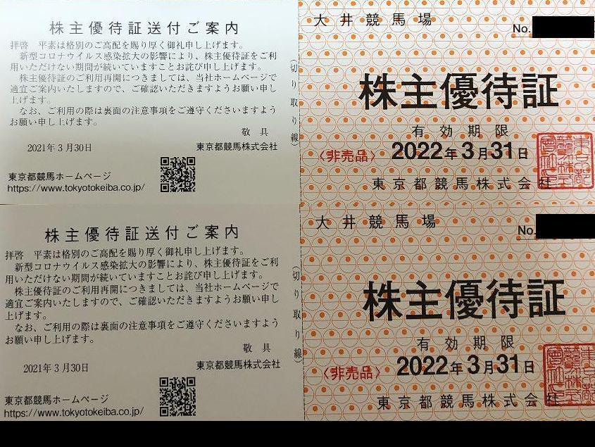 【即決 送料無料 2022年3月31日迄】東京都競馬 株主優待 大井競馬場 株主優待証 2枚セット_画像1