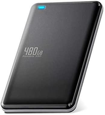エレコム 外付けSSD ポータブル 480GB USB3.0 TLC 小型 軽量 名刺サイズ ブラック ESD-ED0480GBK