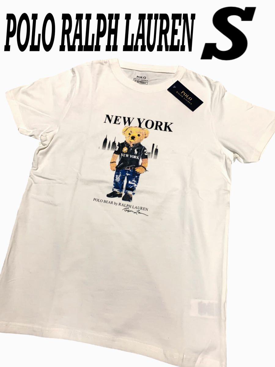 【1円スタート!!!】新品未使用 ポロラルフローレン ポロベア ビッグロゴ 半袖 Tシャツ サイズ S 白 メンズ 大人気!!!