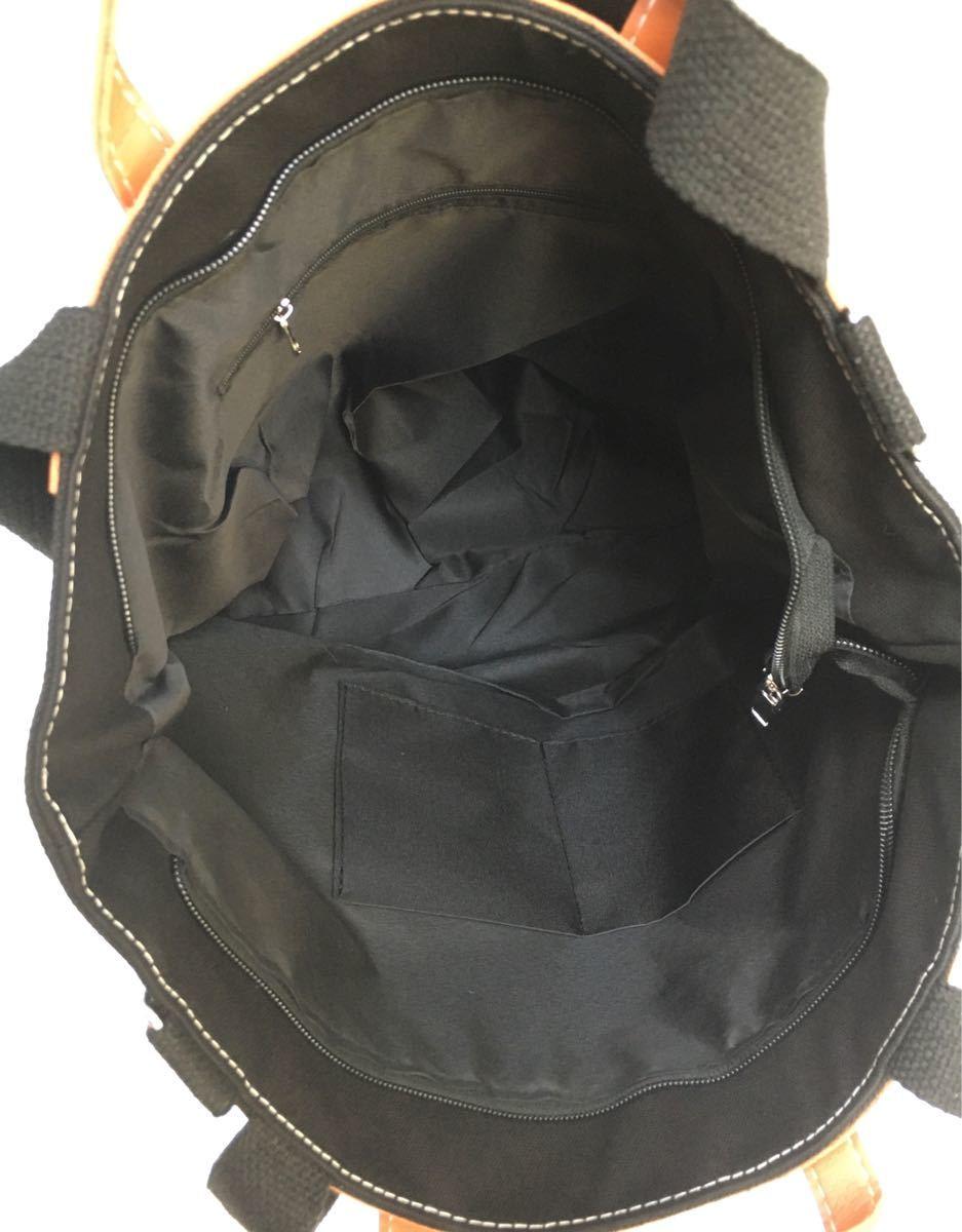キャンバス トートバッグ ショルダーバッグ 大容量 ブラック オシャレ 通勤通学 3WAY マザーズバッグ ブラック ユニセックス