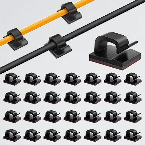 新品 未使用 50pack ケ-ブルクリップ G-4D 50個入り) ケ-ブルホルダ- コ-ドクリップ コ-ドフック ケ-ブルクリップ 接着ワイヤ-コ-ド_画像1