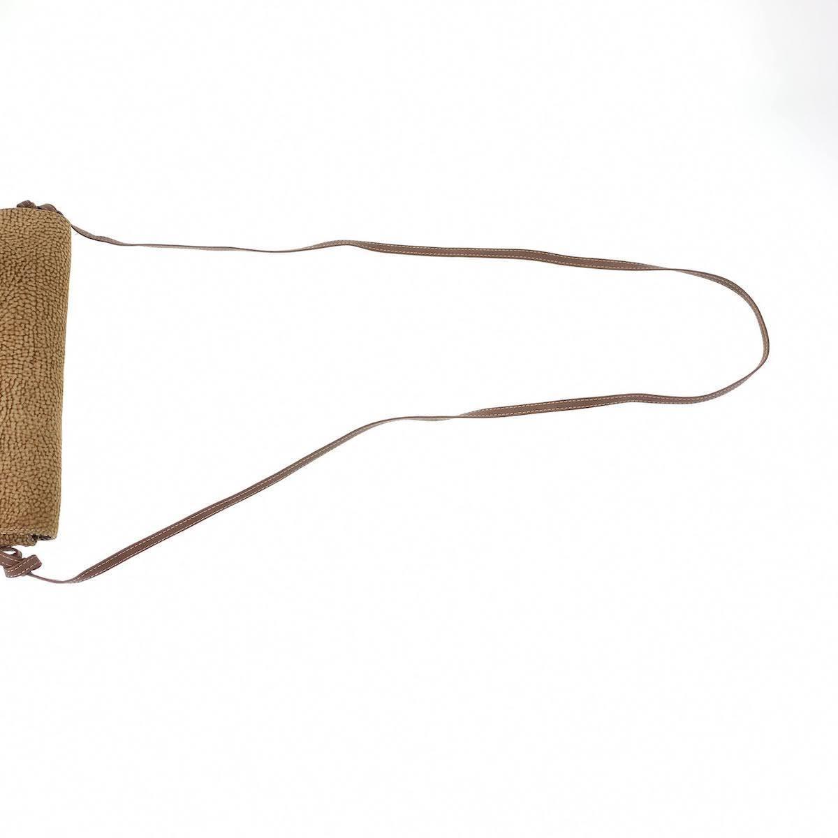 BORBONESE ボルボネーゼ うずら柄 ブラウン キャンバス/レザー 斜め掛け ショルダーバッグ レディース 103046_画像6