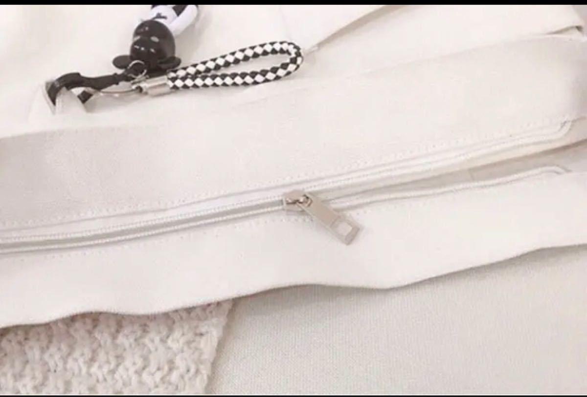 トートバッグ  ショルダーバッグ 白  ホワイト  レディースバッグ 韓国 ボディーバッグ キャンバスバッグ メンズバッグ