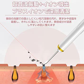 ホワイト ウォーターピーリング 美顔器 超音波ピーリング 超音波美顔器 スマートピール イオン導入 イオン導出 EMSマツサージ_画像3