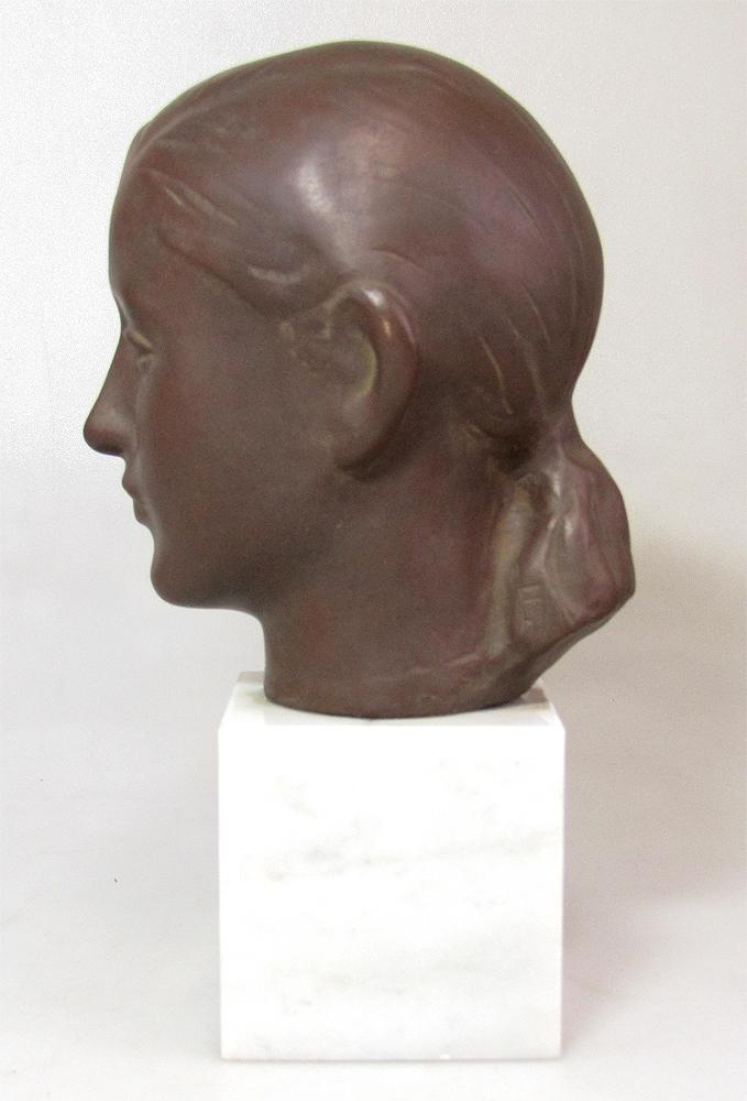 ☆ 船越保武 Y.FUNAKOSHI 銅像 ブロンズ像 ローラ 少女 女性像 頭像 置物 大理石台座 ∵_画像3