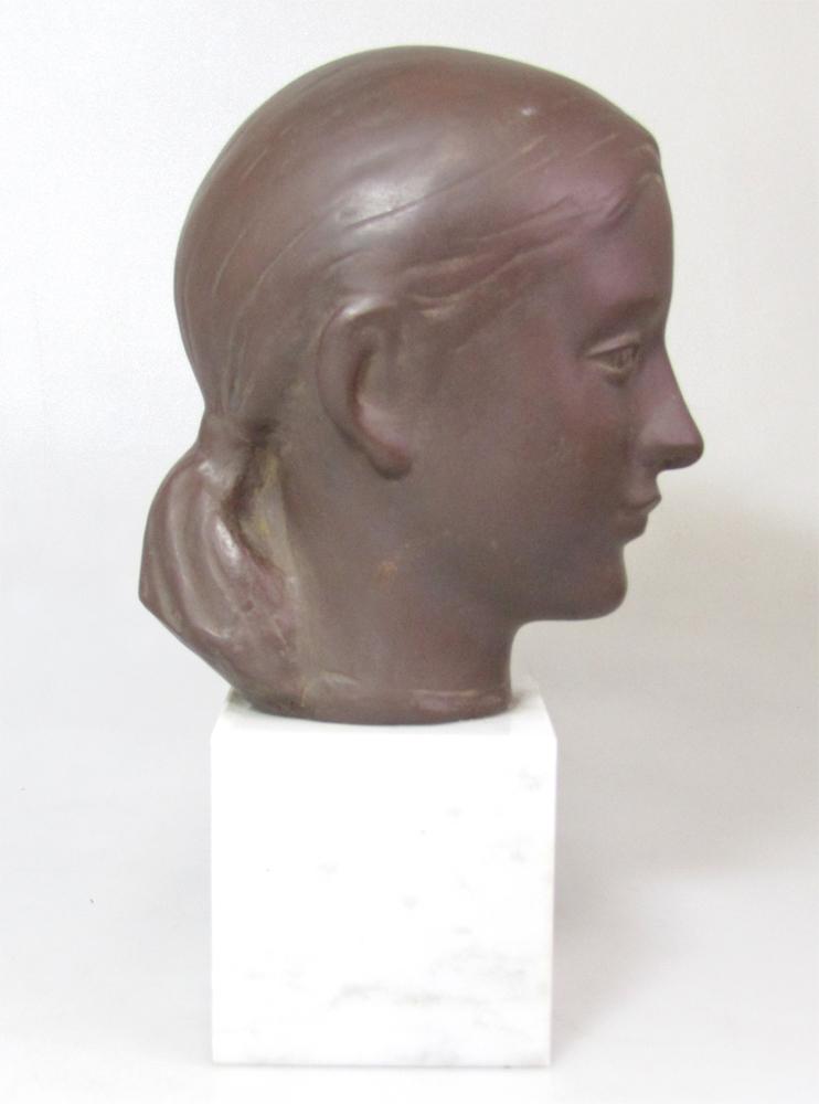 ☆ 船越保武 Y.FUNAKOSHI 銅像 ブロンズ像 ローラ 少女 女性像 頭像 置物 大理石台座 ∵_画像5