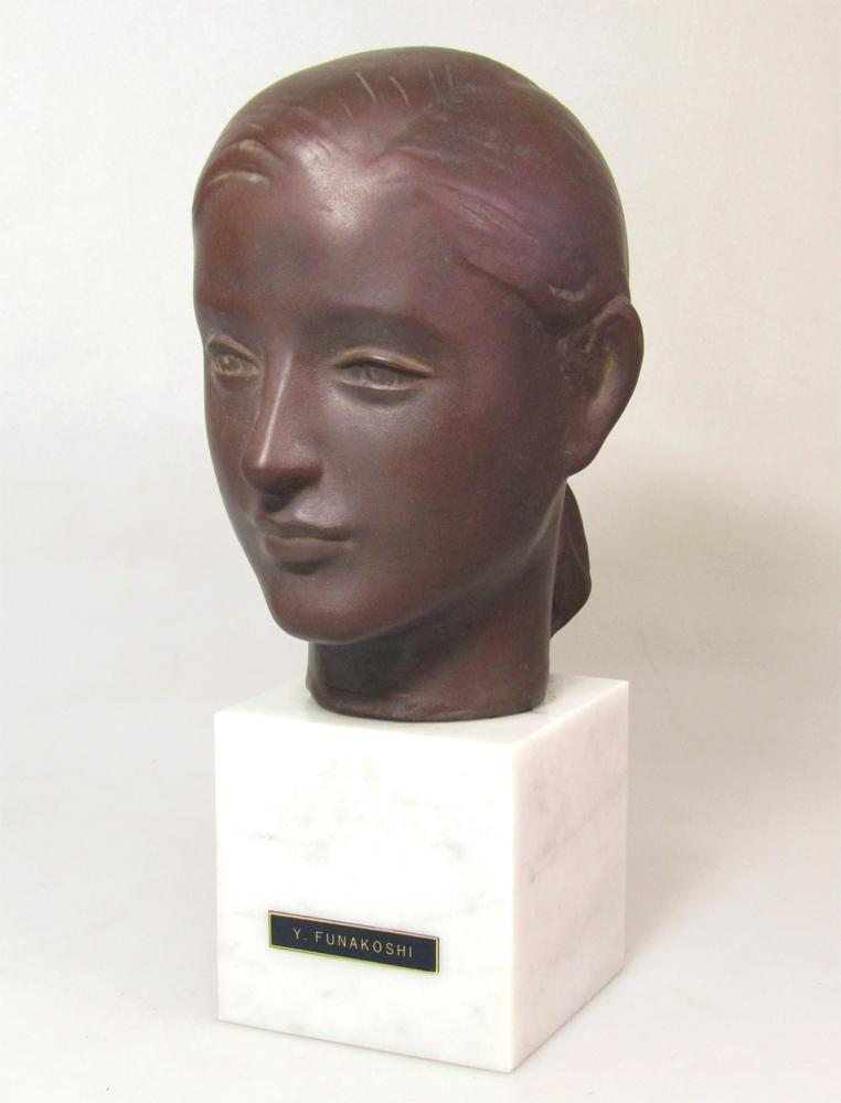 ☆ 船越保武 Y.FUNAKOSHI 銅像 ブロンズ像 ローラ 少女 女性像 頭像 置物 大理石台座 ∵_画像1