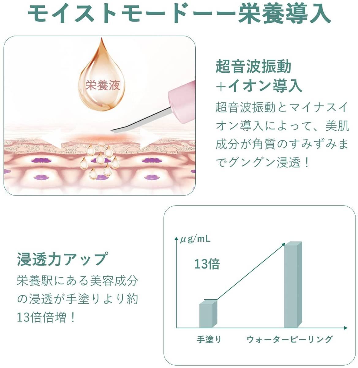 ウォーターピーリング 超音波 美顔器 ピーリング 4段階強度調節 イオン導出 イオン導入 EMS微電流 引き締め 黒ずみ (ピンク