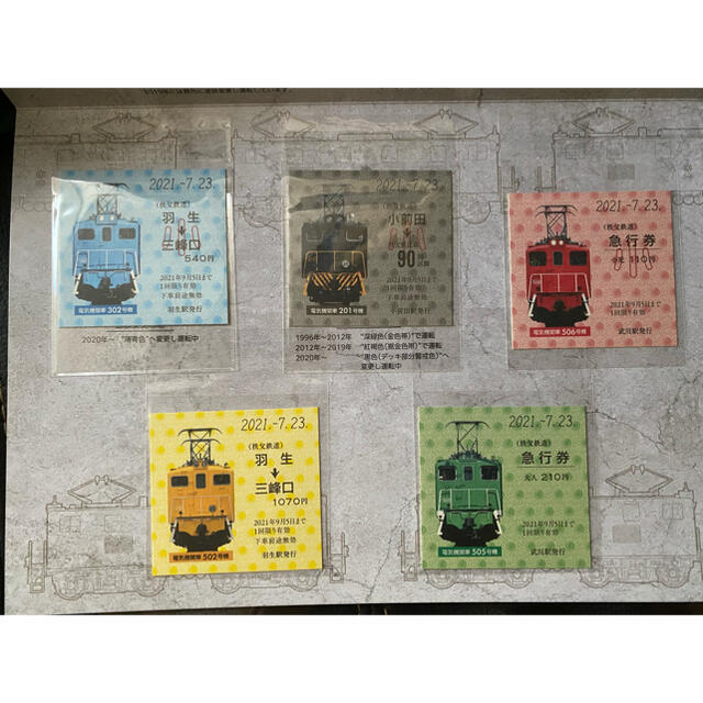 秩父鉄道電気機関車記念乗車券&記念回数券電気機関車カード付き熊谷バージョン