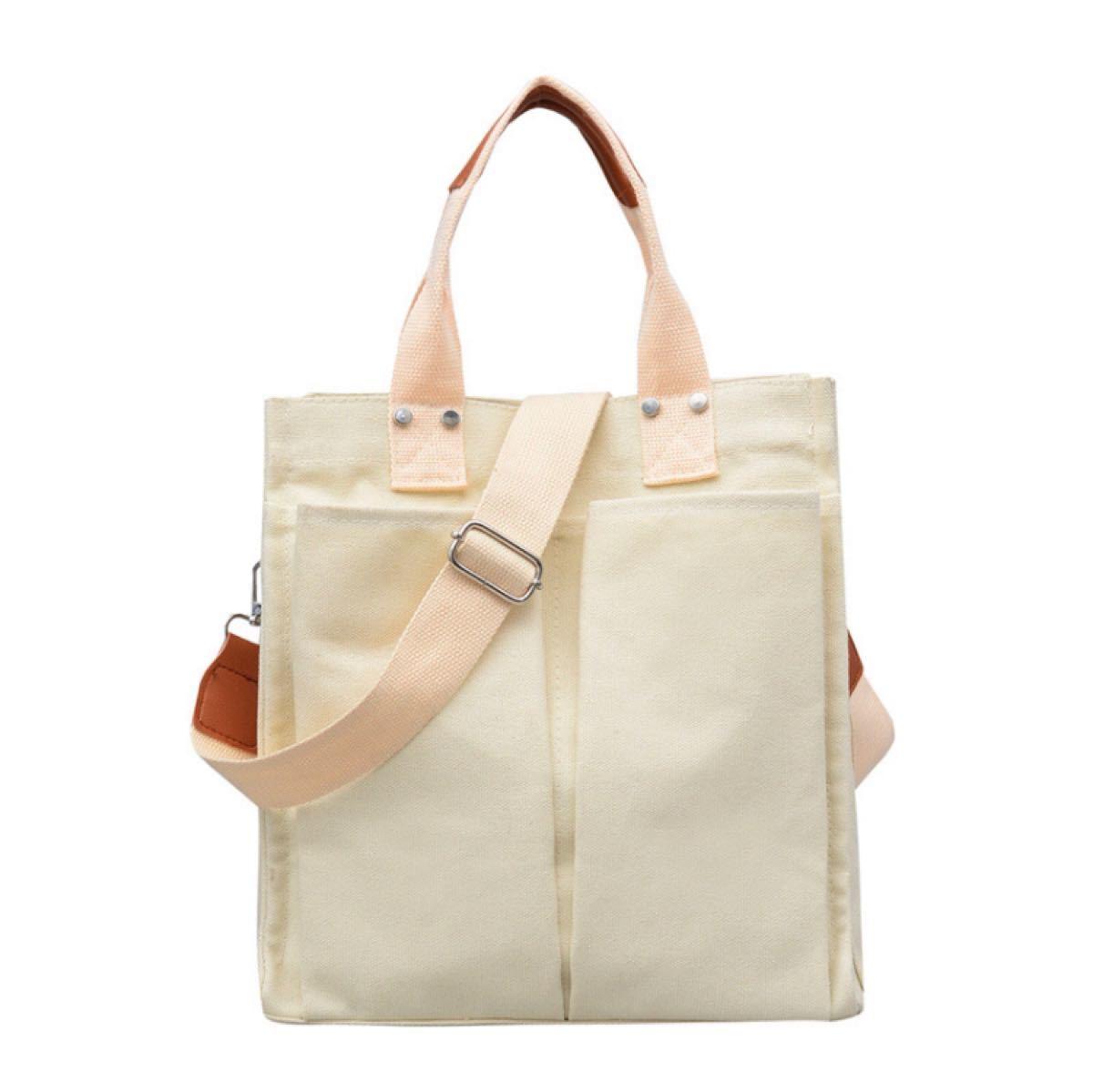 トートバッグ ショルダーバッグ 白 キャンバス レディースバッグ キャンバスバッグ