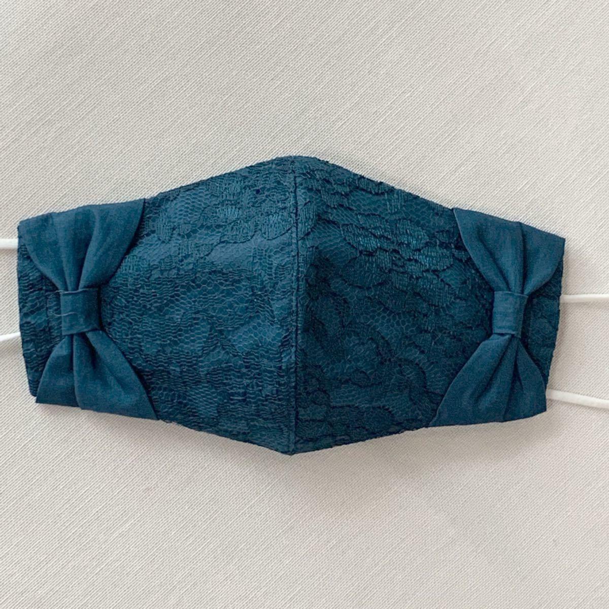 ハンドメイド 立体インナー3way  teal blue リボン