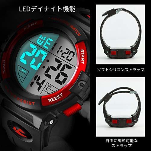 Senors 3-レッド 腕時計 メンズ デジタル スポーツ 50メートル防水 おしゃれ 多機能 LED表示 アウトドア_画像3