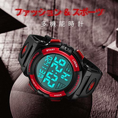 Senors 3-レッド 腕時計 メンズ デジタル スポーツ 50メートル防水 おしゃれ 多機能 LED表示 アウトドア_画像5