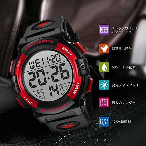 Senors 3-レッド 腕時計 メンズ デジタル スポーツ 50メートル防水 おしゃれ 多機能 LED表示 アウトドア_画像2