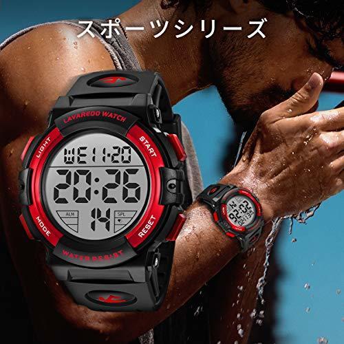 Senors 3-レッド 腕時計 メンズ デジタル スポーツ 50メートル防水 おしゃれ 多機能 LED表示 アウトドア_画像4