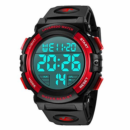 Senors 3-レッド 腕時計 メンズ デジタル スポーツ 50メートル防水 おしゃれ 多機能 LED表示 アウトドア_画像1