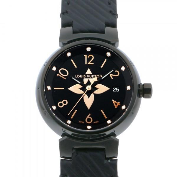 ルイ・ヴィトン LOUIS VUITTON タンブール QA047Z ブラック文字盤 中古 腕時計 レディース_画像1