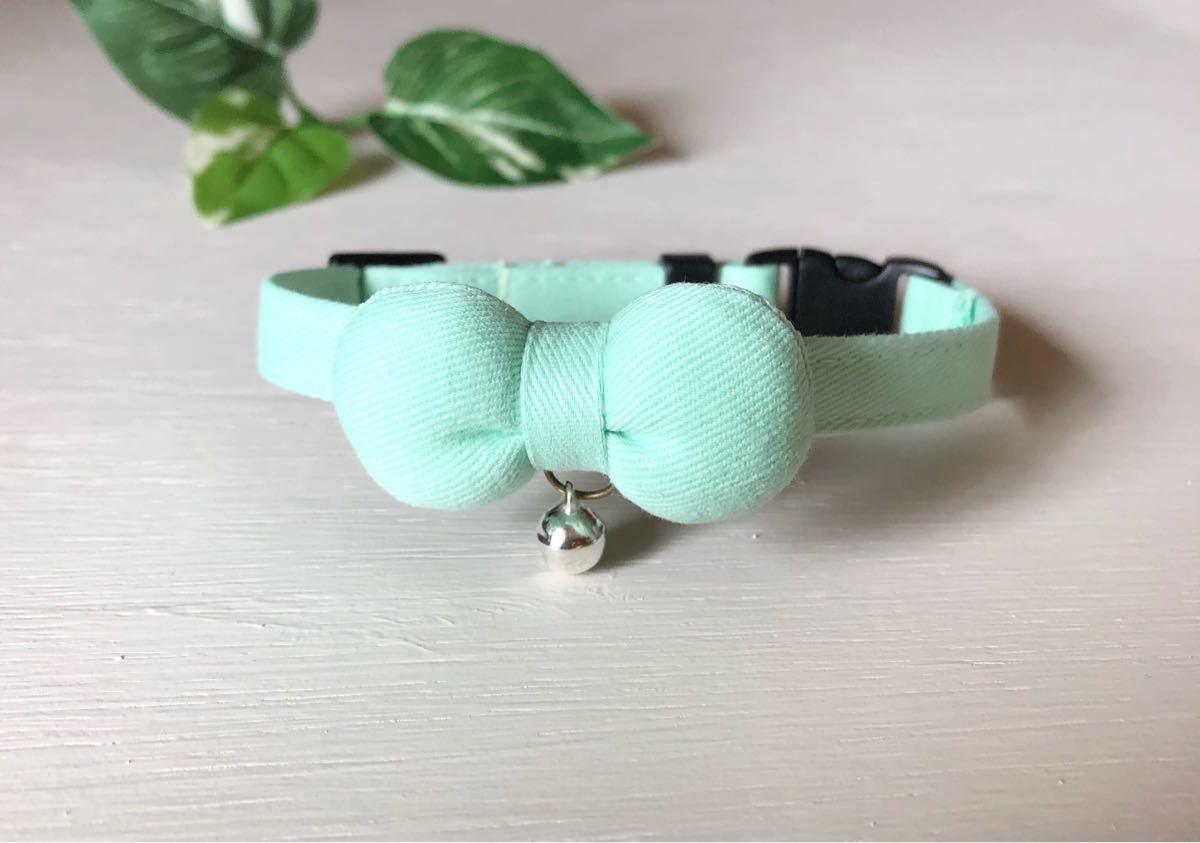 猫首輪 可愛い ミントグリーン まるリボン 首輪 コットンツイル生地
