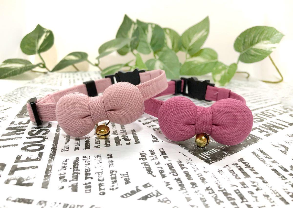 猫首輪 おしゃれくすみピンク まるリボン 首輪 猫ちゃん